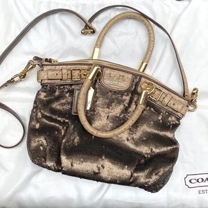 Coach Mini Bronze Sequin Sophia Satchel Bag